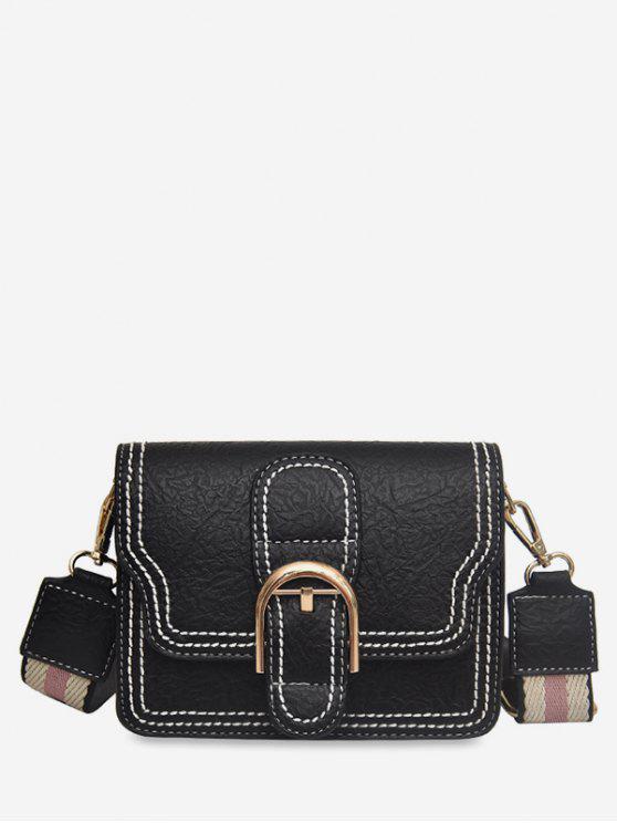 trendy Striped Shoulder Tape Design Cover Crossbody Bag - BLACK