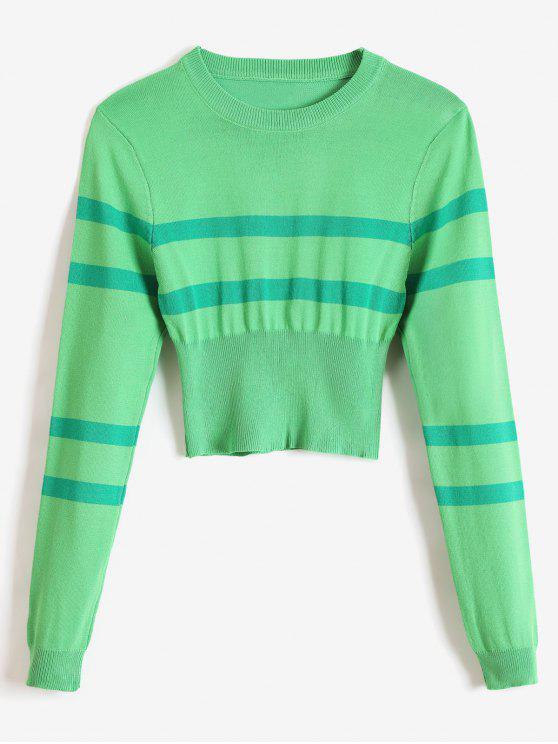 best Striped Round Neck Short Sweater - GREEN ONE SIZE