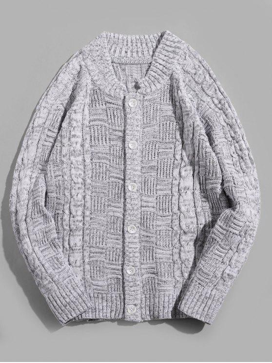 online Button Up Stand Collar Cardigan - LIGHT GRAY 2XL
