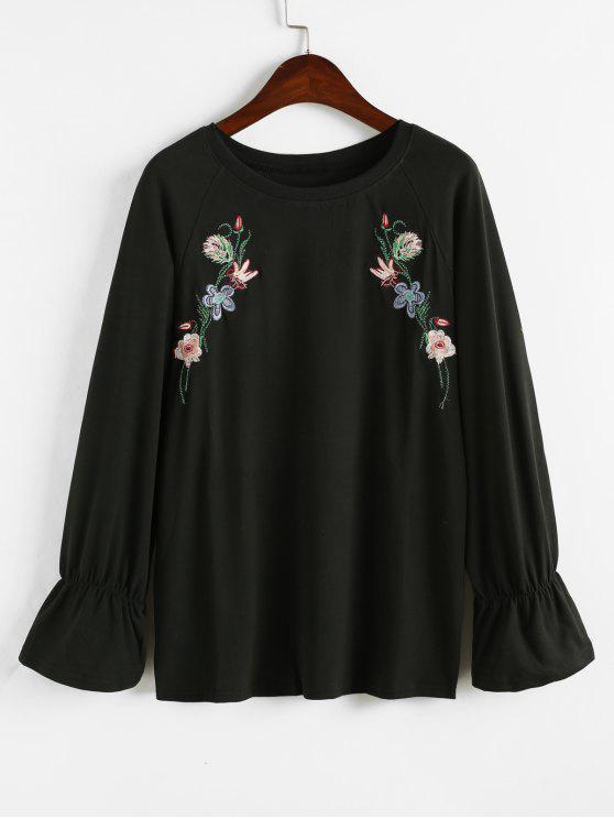 Sweat-shirt Floral Brodé à Manches Raglan - Noir Taille Unique
