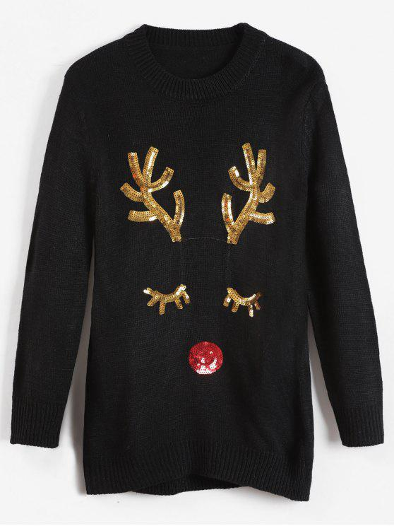 women's Christmas Sequined Elk Sweater - BLACK ONE SIZE