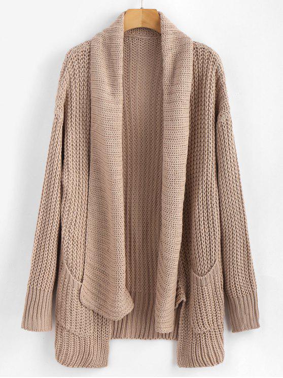shop Pockets Shawl Collar Chunky Cardigan - APRICOT M