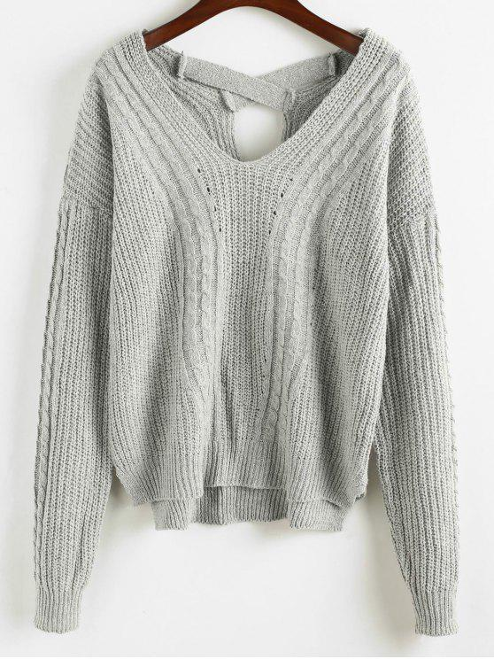 5568d4bb854 52% OFF  2019 Criss Cross Plain Cable Knit Sweater In GRAY