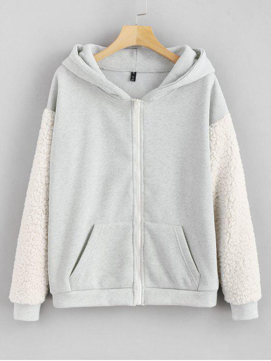 sale Pockets Fluffy Zip Up Hoodie - LIGHT GRAY L