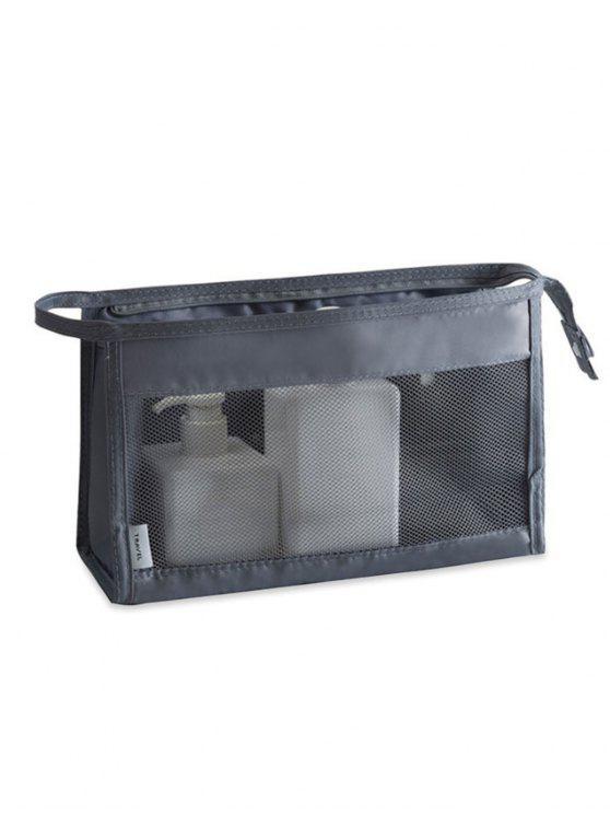 Chic Cosmetic Zipper Mesh Toiletry Bag Gray