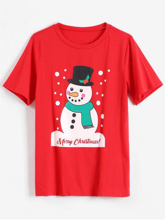 Joyeux Noël T-shirt Graphique Bonhomme de neige - Rouge L