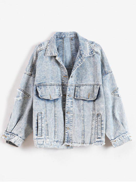 sale Snow Wash Oversized Denim Jacket - DENIM BLUE ONE SIZE