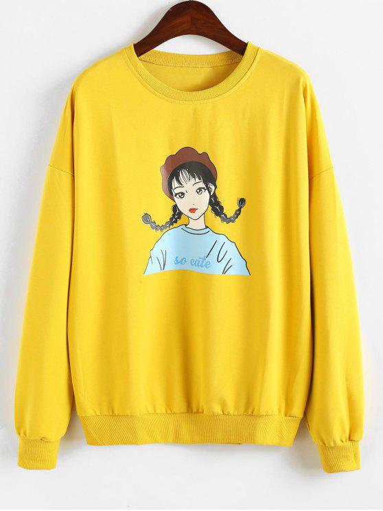 trendy Character Graphic Drop Shoulder Sweatshirt - BRIGHT YELLOW ONE SIZE
