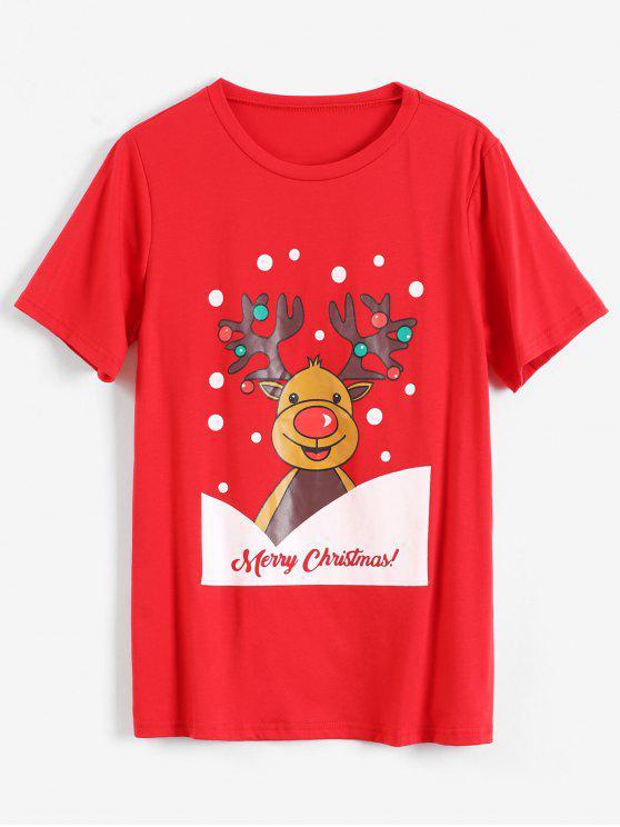 T-Shirt Con Stampa Alce Di Natale - Rosso L