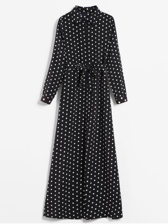 fashion Printed Polka Dot Maxi Shirt Dress - BLACK M