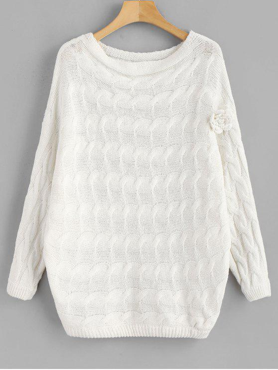 outfit Batwing Floral Applique Cable Knit Sweater - WHITE M