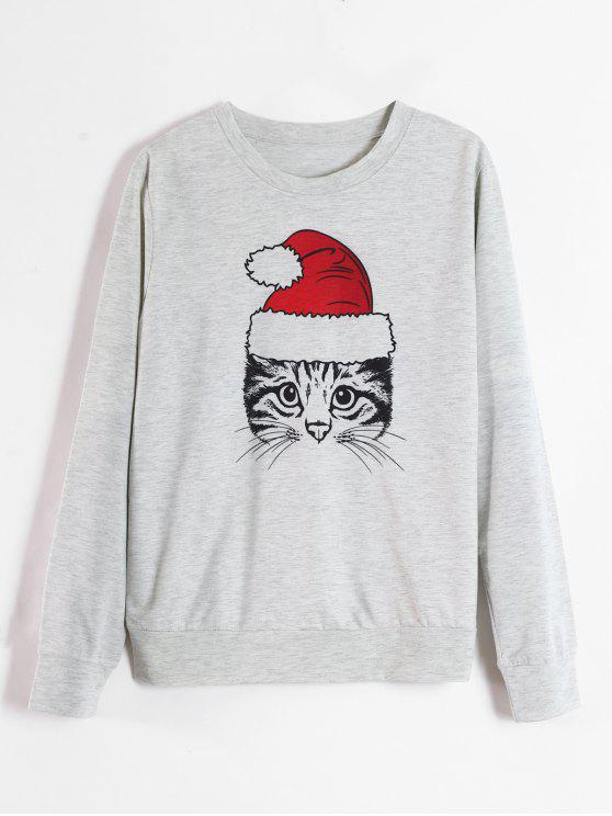buy Cat Graphic Christmas Sweatshirt - LIGHT GRAY L