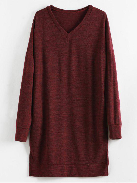 chic V Neck Drop Shoulder Knit Slit Dress - FIREBRICK S