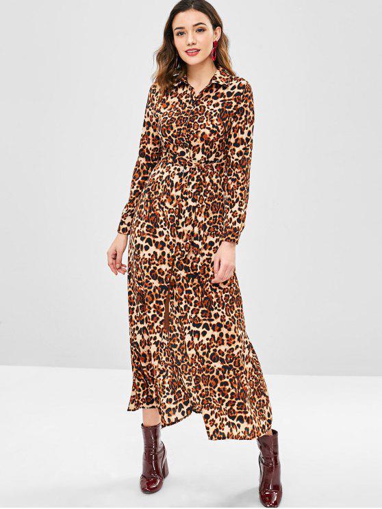 Robe léopard avec ceinture - Léopard XL