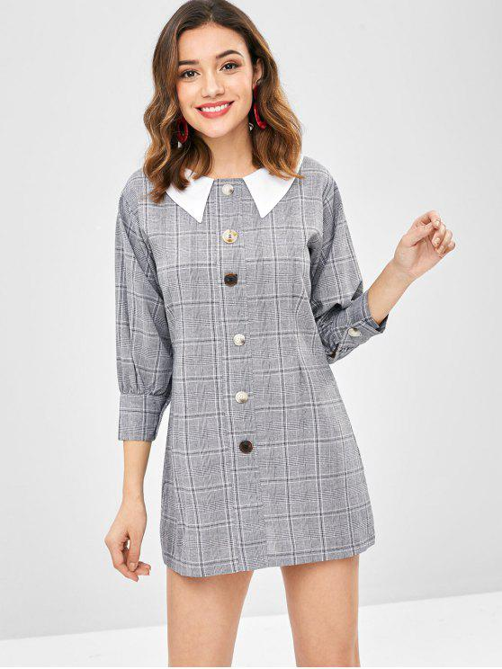 fashion Flat Collar Buttoned Plaid Dress - MULTI ONE SIZE