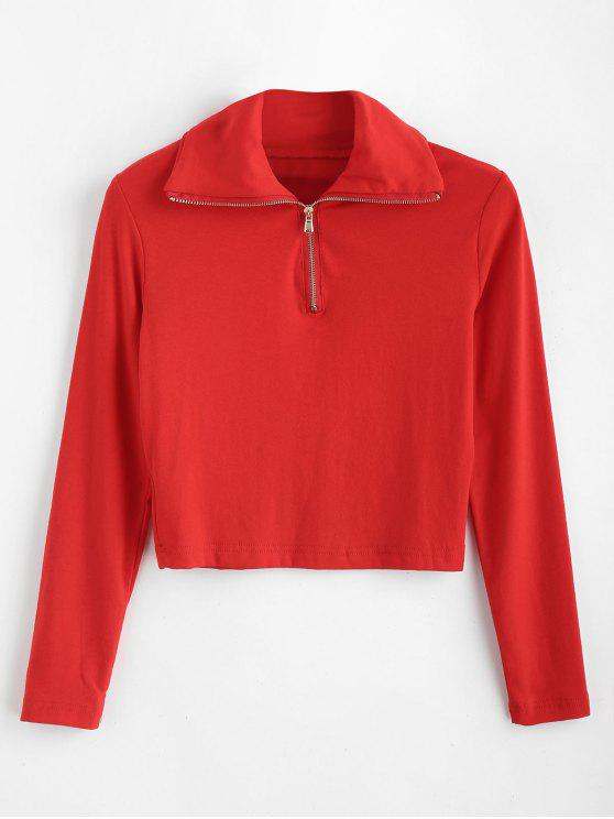shops Long Sleeve Quarter Zip Cropped Tee - RED L