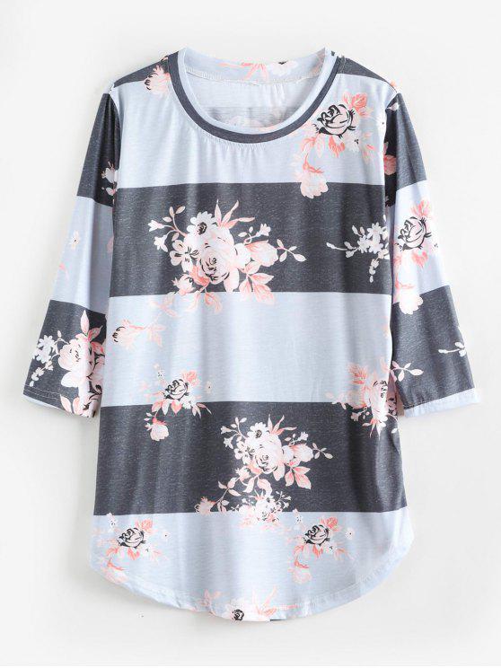 Lässige Tunika- T-Shirt mit Blumenmuster - Blaugrau XL