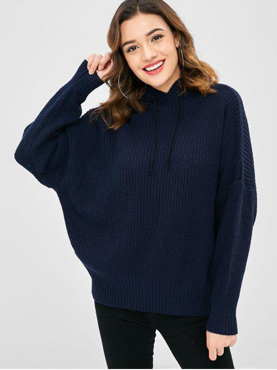 affordable Drop Shoulder Oversized Hooded Sweater - MIDNIGHT BLUE ONE SIZE