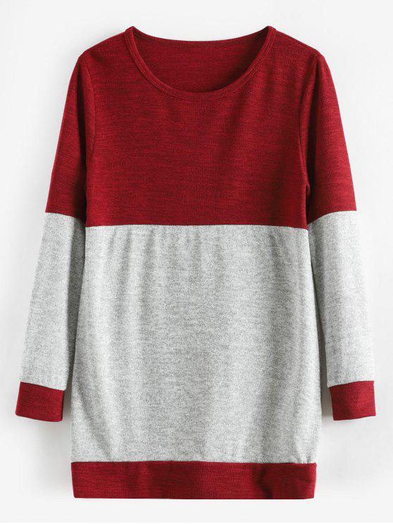 chic Knitted Tunic Two Tone Sweater - RED WINE M
