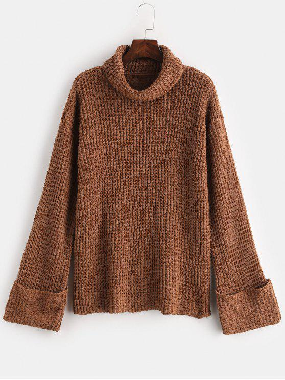 unique Cuffed Openwork Turtleneck Sweater - LIGHT BROWN L