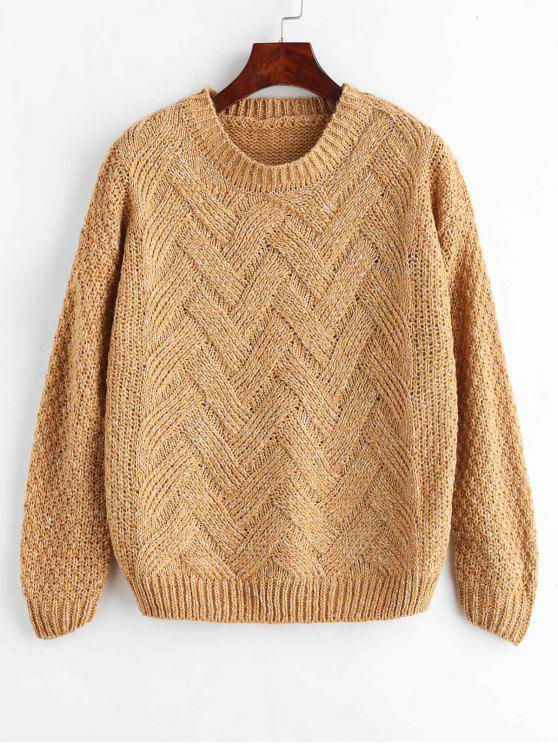 womens Heathered Cable Knit Sweater - CARAMEL ONE SIZE