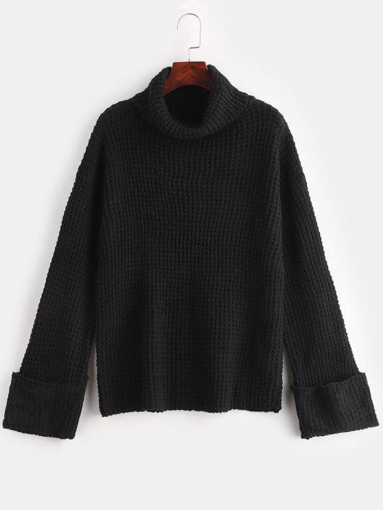 new Cuffed Openwork Turtleneck Sweater - BLACK M