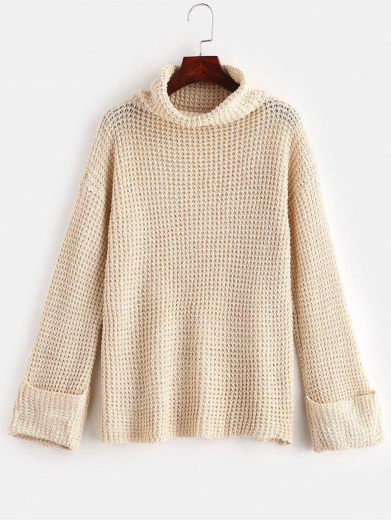 latest Cuffed Openwork Turtleneck Sweater - BEIGE M