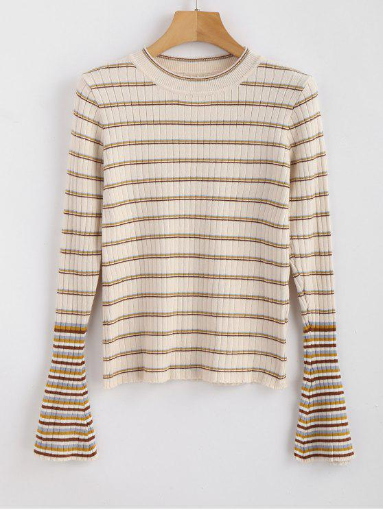 fashion Bell Sleeve Striped Ribbed Sweater - MULTI ONE SIZE