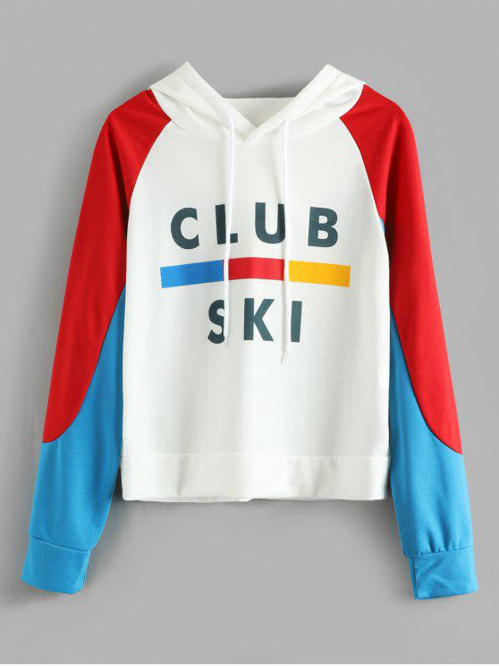 new Raglan Sleeves Color Block Hoodie - MULTI S