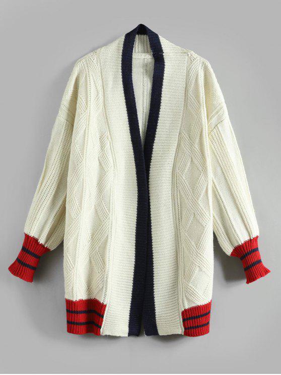 fashion Contrast Drop Shoulder Tunic Cardigan - WARM WHITE ONE SIZE