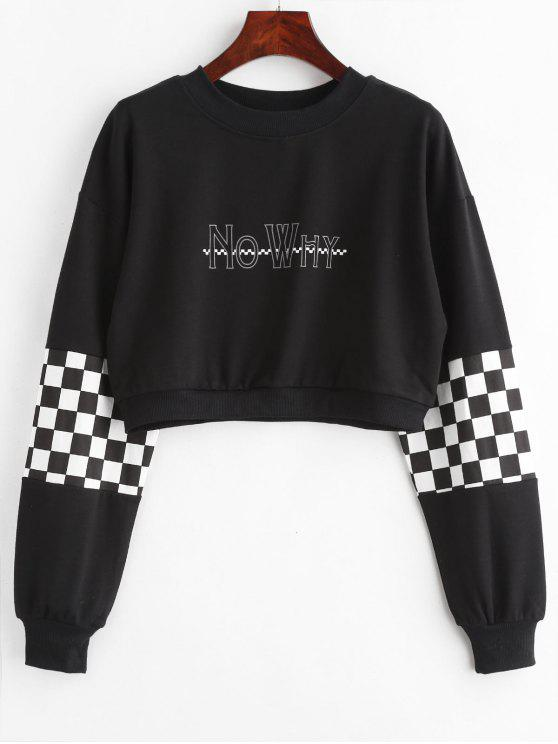 best Checkered Graphic Cropped Sweatshirt - BLACK L