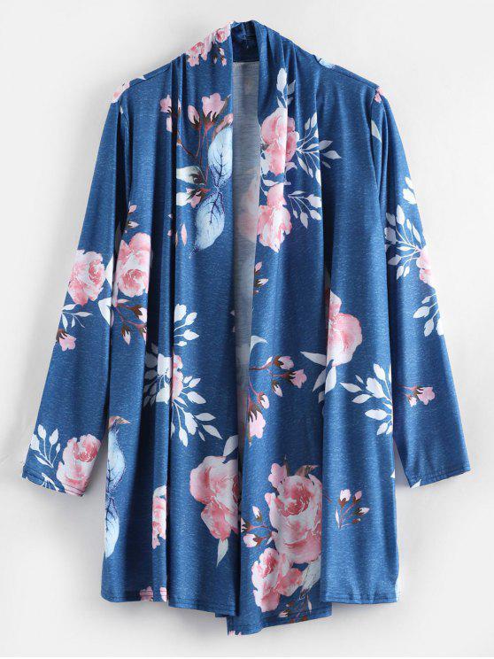 Cardigan Ouvert Tunique Floral - Bleu L