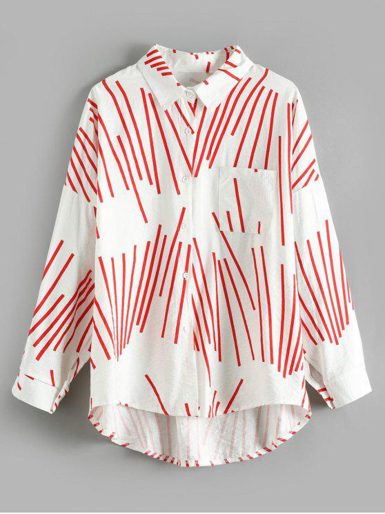 latest Striped Front Pocket Tunic Blouse - MULTI ONE SIZE