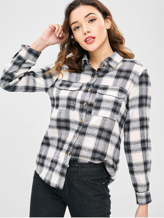 womens High Low Long Sleeves Plaid Shirt - MULTI-A M