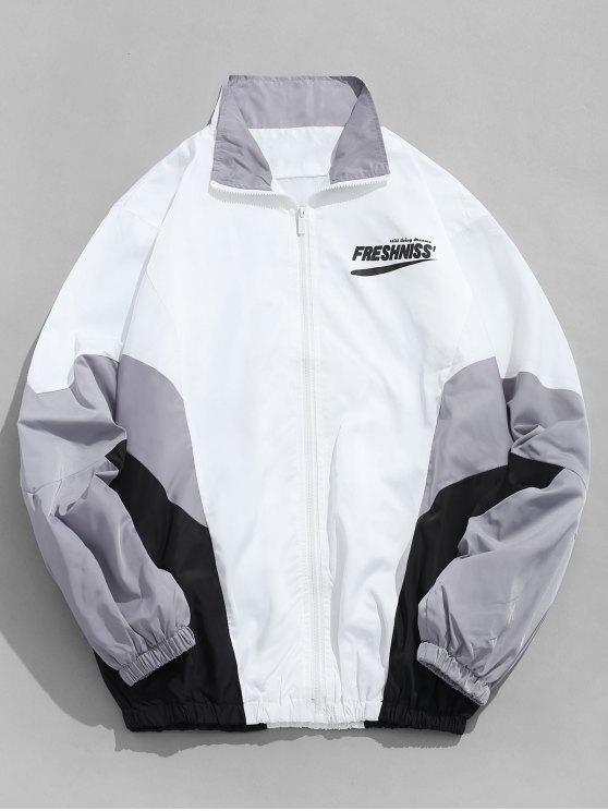 women's Outdoor Letter Contrast Windbreaker Jacket - GRAY M