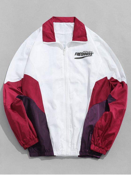 ladies Outdoor Letter Contrast Windbreaker Jacket - LAVA RED L