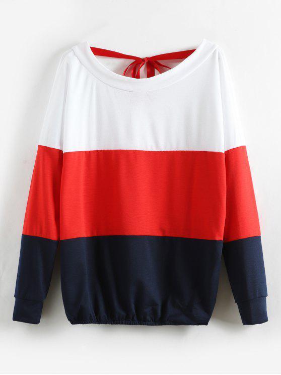 fancy Color Block V Back Surplice Sweatshirt - RED XL