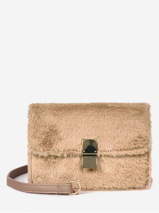 shops Faux Fluff Magnetic Snap Design Crossbody Bag - KHAKI