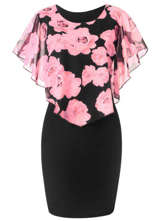 فستان الحجم الكبير طباعة الوردة - زهري 3XL
