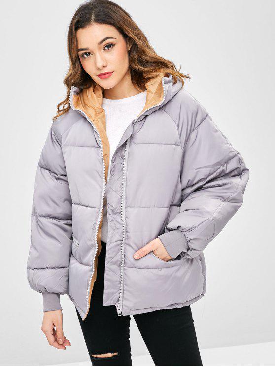 fancy Raglan Sleeve Hooded Padded Coat - PLATINUM XS