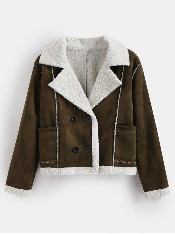 trendy Double Breasted Faux Shearling Winter Jacket - DARK KHAKI L