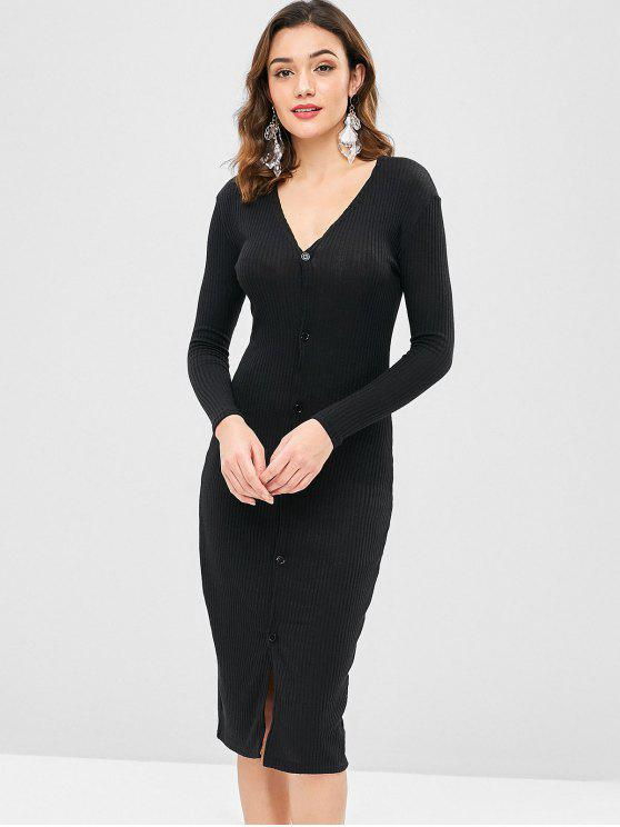 Solid Color Slim Cardigan Kleid - Schwarz L