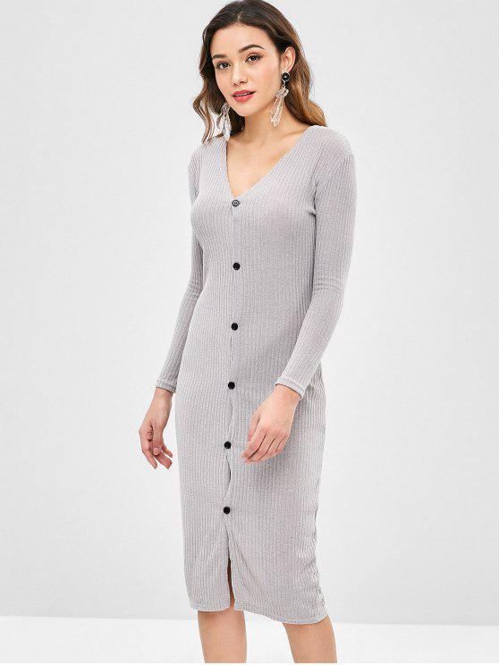 unique Solid Color Slim Cardigan Dress - GRAY CLOUD L