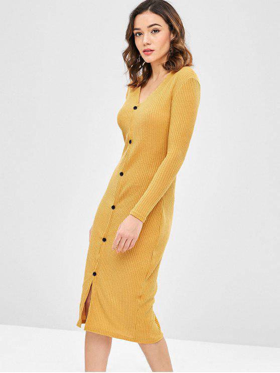 Solid Color Slim Cardigan Kleid - Orange Gold M