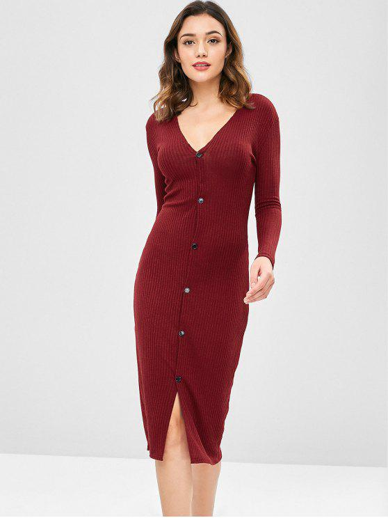 Solid Color Slim Cardigan Kleid - Roter Wein L