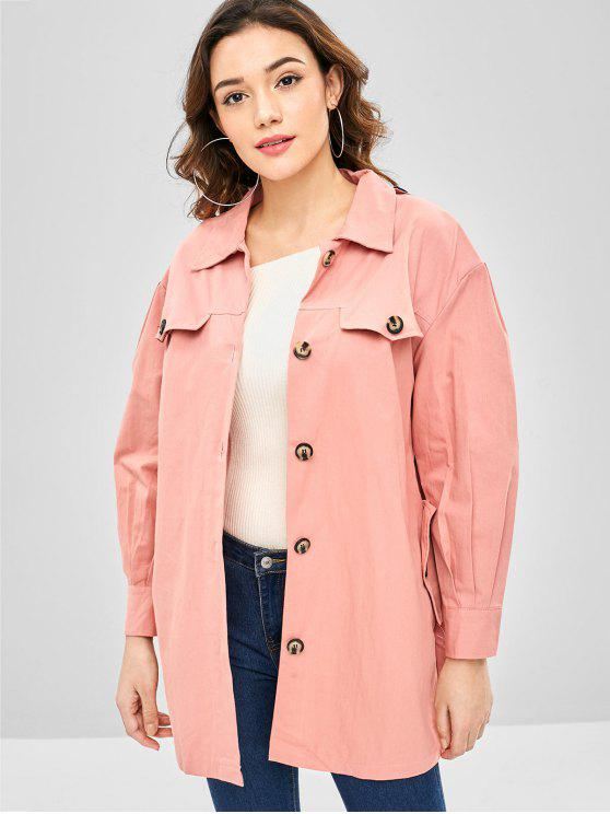 chic Single Breasted Buttoned Belted Coat - FLAMINGO PINK ONE SIZE