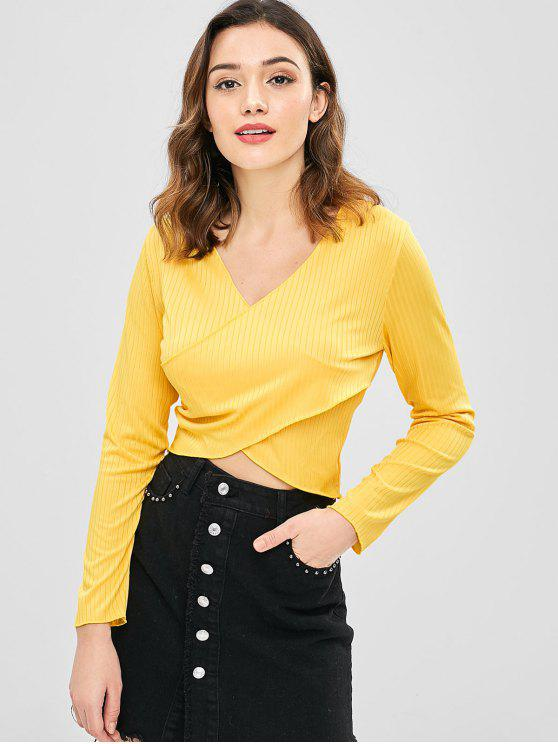 outfits Solid Color Wrap Crop Top - BRIGHT YELLOW XL