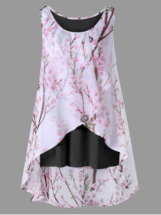 hot Plus Size Tiny Floral Overlap Sleeveless Top - BLACK 5XL