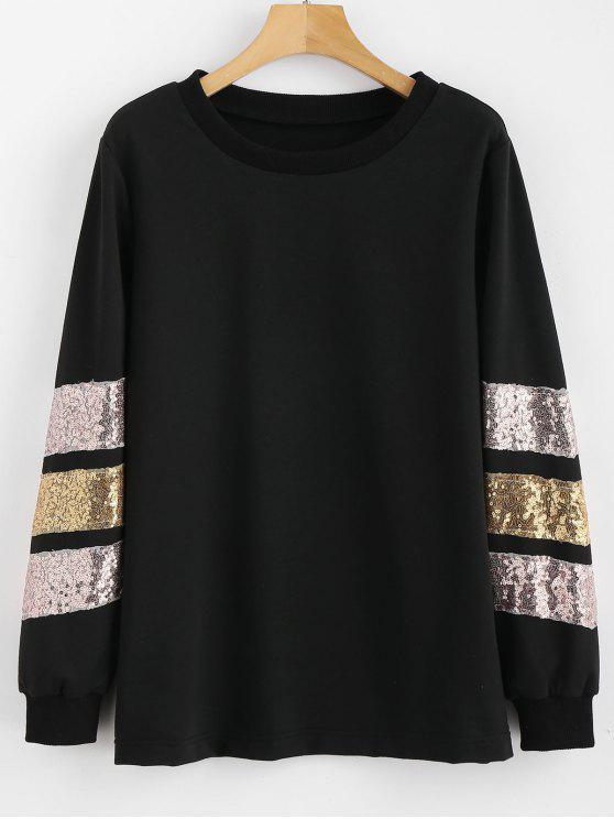 Sweat-shirt Pailletté à Col Rond - Noir S