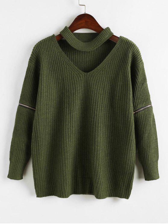 trendy Zipper Embellished Plain Keyhole Sweater - ARMY GREEN ONE SIZE